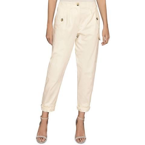 Reiss Cream Bleeker Utility Cotton Stretch Trousers