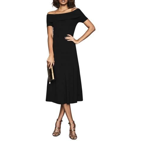 Reiss Black Melissa Knit Midi Dress