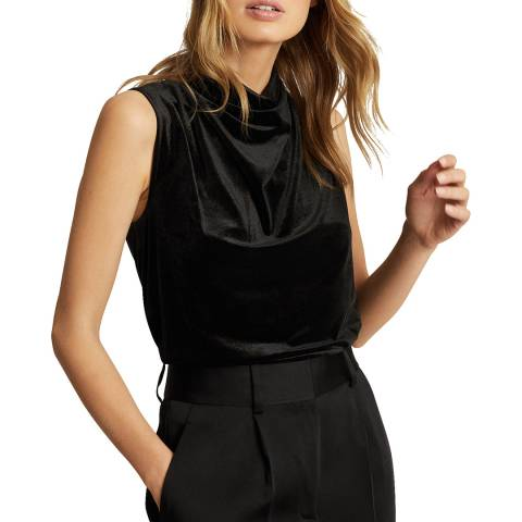 Reiss Black Lola Cowl Top