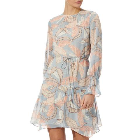 Reiss Blue Dara Leaf Print Dress