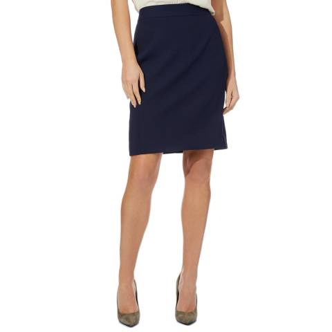 Reiss Navy Corsico Wool Blend Skirt