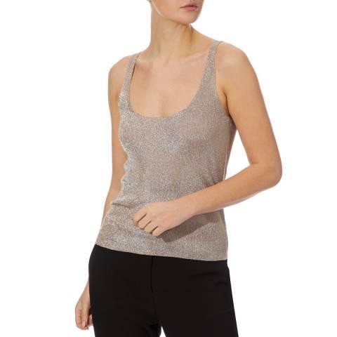 Reiss Silver Agatha Metallic Vest Top