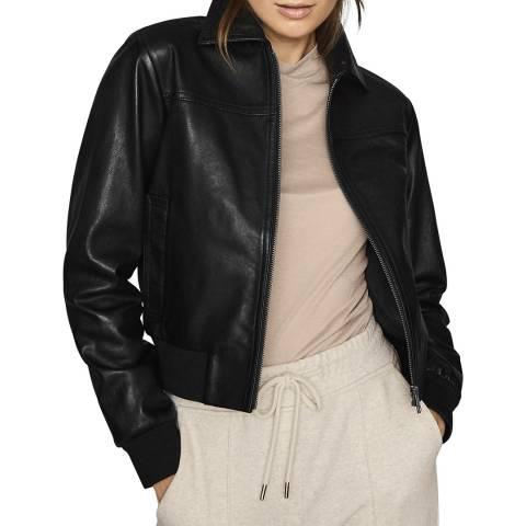 Reiss Black Krishna Leather Bomber Jacket