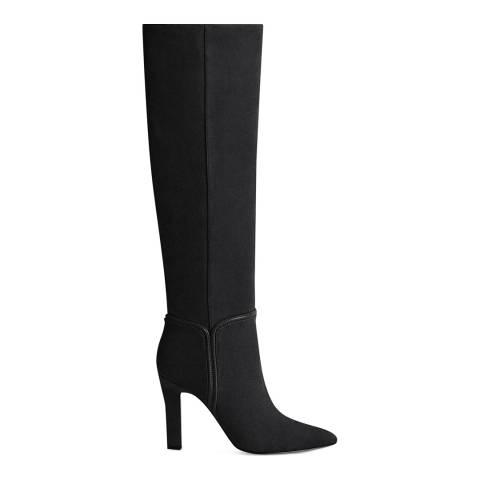 Reiss Black Eline Knee High Suede Boots
