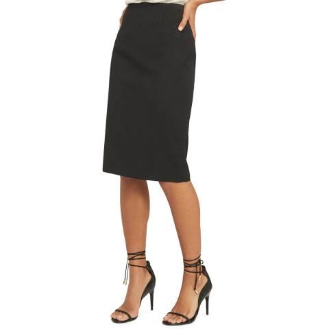Reiss Black Hayes Wool Blend Pencil Skirt