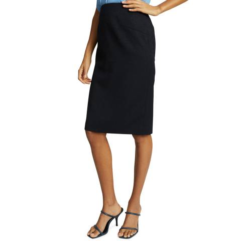 Reiss Navy Hayes Wool Blend Pencil Skirt