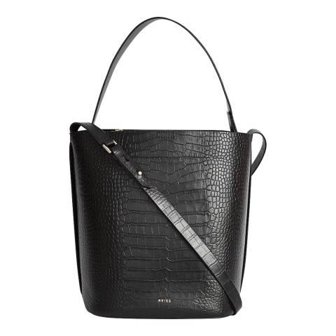 Reiss Black Hudson Leather Bag