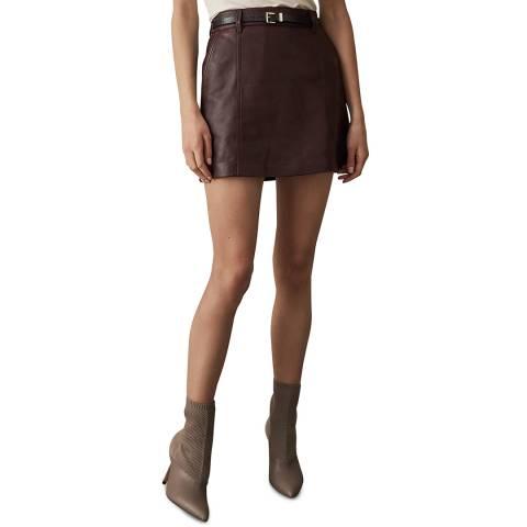 Reiss Oxblood Mimi Leather Skirt