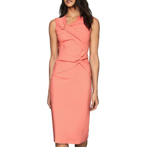 Reiss Coral Alex Ruched Bodycon Dress