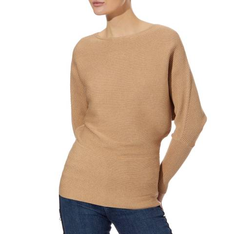 Reiss Camel Lorena Ribbed Jumper