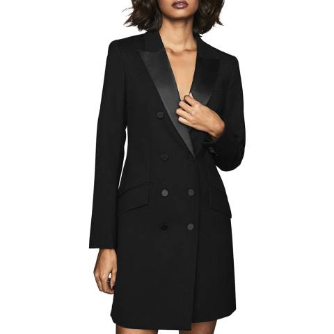 Reiss Black Sofia Wool Blend Tuxedo Dress