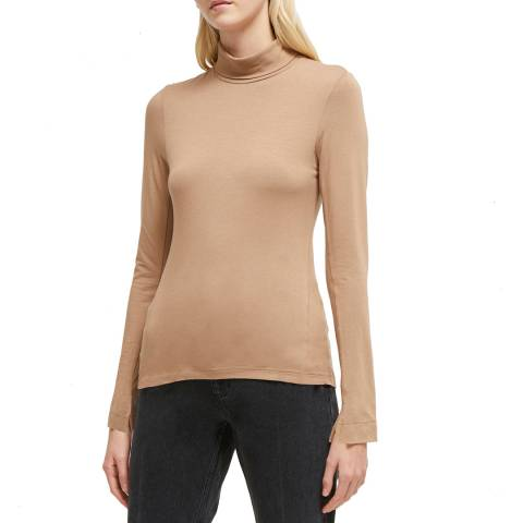 French Connection Camel Venetia Jersey Split Cuff Top