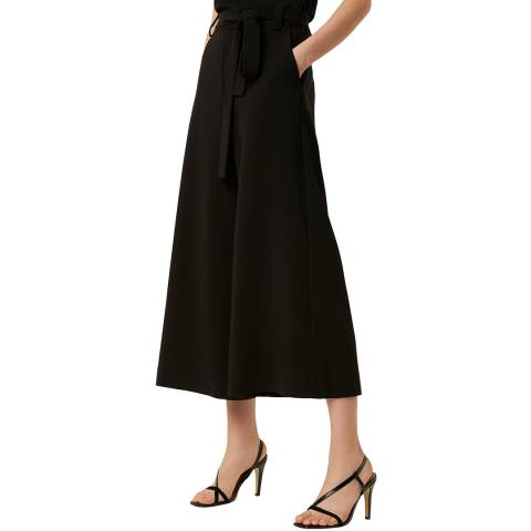 French Connection Black Cropped Wide Leg Trousers