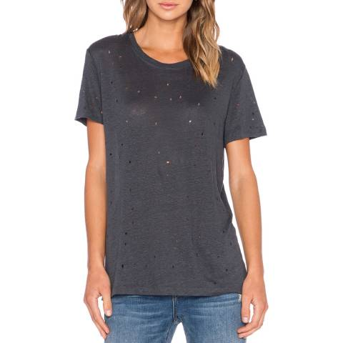 IRO Charcoal Distressed Clay Linen T-Shirt