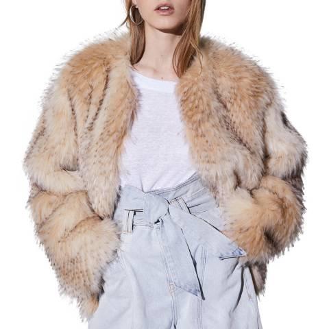 IRO Beige Faux Fur Gaimy Coat