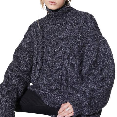 IRO Charcoal Cable Sirah Mohair Blend Jumper