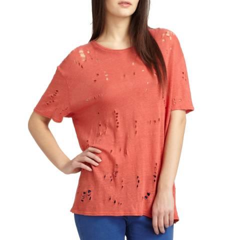 IRO Pink Distressed Clay Linen T-Shirt