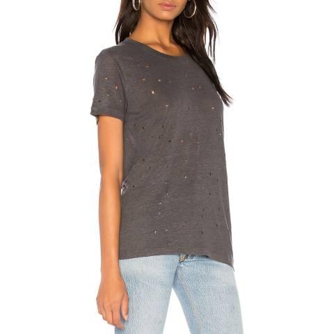 IRO Grey Distressed Clay Linen T-Shirt