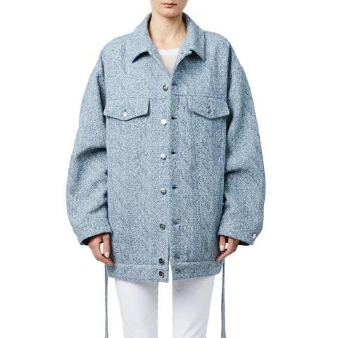 IRO Blue Oversized Malcolm Wool Blend Jacket