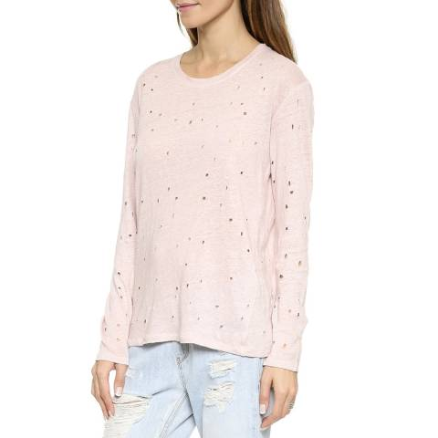 IRO Pink Marvina Linen Long Sleeve Top