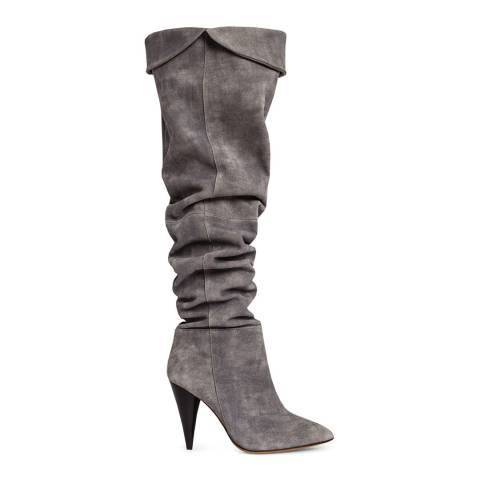 IRO Grey Suede Groove Over The Knee Boots