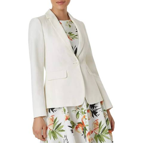 Hobbs London Ivory Trent Silk/Linen Blend Jacket