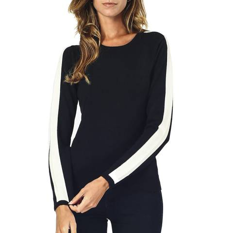 William De Faye Black Cashmere Blend Round Neck Jumper