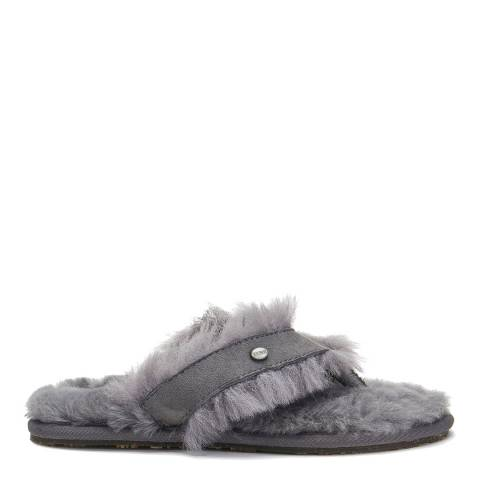 Australia Luxe Collective Grey Sheepskin Feel Thong Slippers