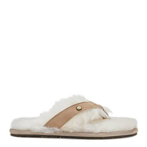 Australia Luxe Collective Sand Sheepskin Feel Thong Slippers
