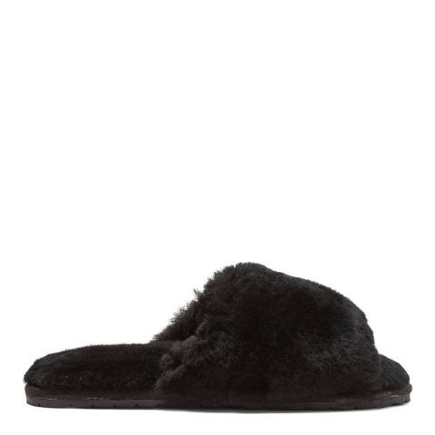 N°· Eleven Black Shearling Slides