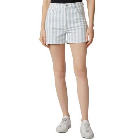 J Brand Blue Stripe Jules Stretch Shorts