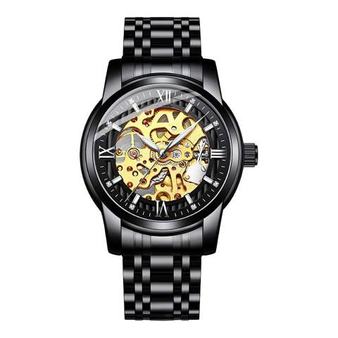 Stephen Oliver 18K Gold Plated Black Dial Skeleton Automatic Watch