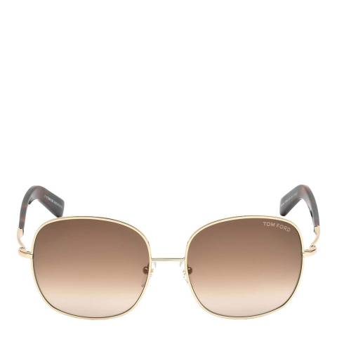 Tom Ford Women's Shiny Rose Gold/Brown Tom Ford Sunglasses 57mm