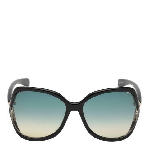Tom Ford Women's Shiny Black/Blue Tom Ford Sunglasses 60mm