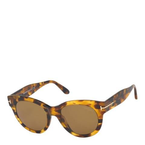 Tom Ford Women's Blonde Havana/Brown Tom Ford Sunglasses 53mm