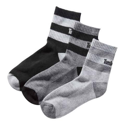 Timberland Grey/Black Geo Stripe Shortie 3 Pack Socks