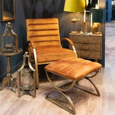 Hill Interiors Burnt Orange & Brass Ribbed Footstool