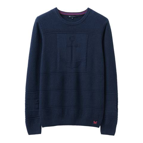 Crew Clothing Navy Anchor Textured Knit