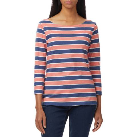 Crew Clothing Blue/Red Striped Cotton Top