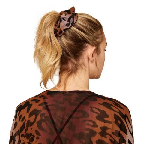 N°· Eleven Black / Brown Animal Print Scarf Detail Scrunchie
