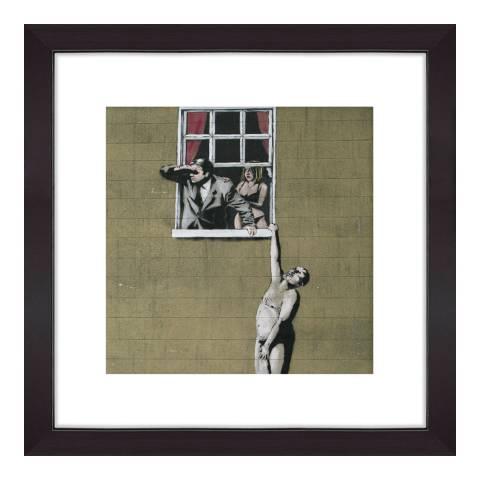 Banksy Mand On ledge 40x40cm