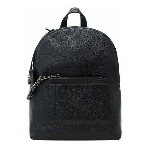 Replay Black Pebbled Chain Detail Backpack