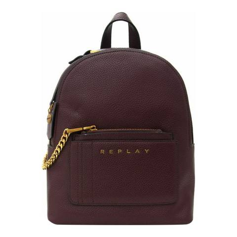 Replay Red Pebbled Leather Backpack
