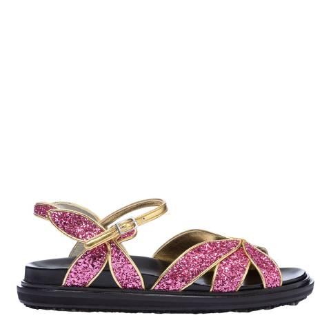 Marni Pink Glitter Fussbett Platform Sandal