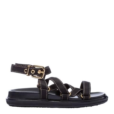 Marni Black Strappy Fussbett Sandal