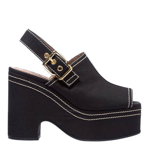 Marni Black Contrast Stitch Wedge Sandal