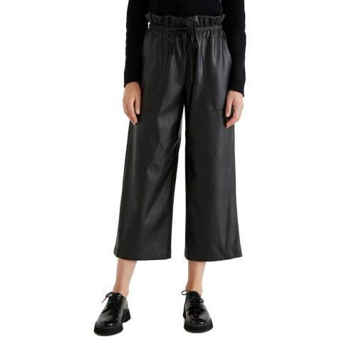 United Colors of Benetton Black High Waisted Leather Look Trousers