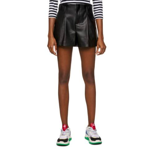 United Colors of Benetton Black High Waisted Leather Shorts