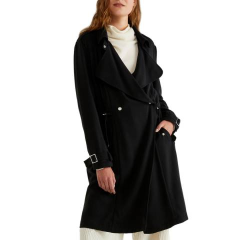 United Colors of Benetton Black Double Breasted Trench