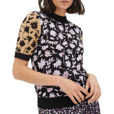 Chinti and Parker Black Gabriel Floral Knitted Tee